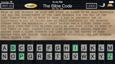 Bible Code game screenshot.