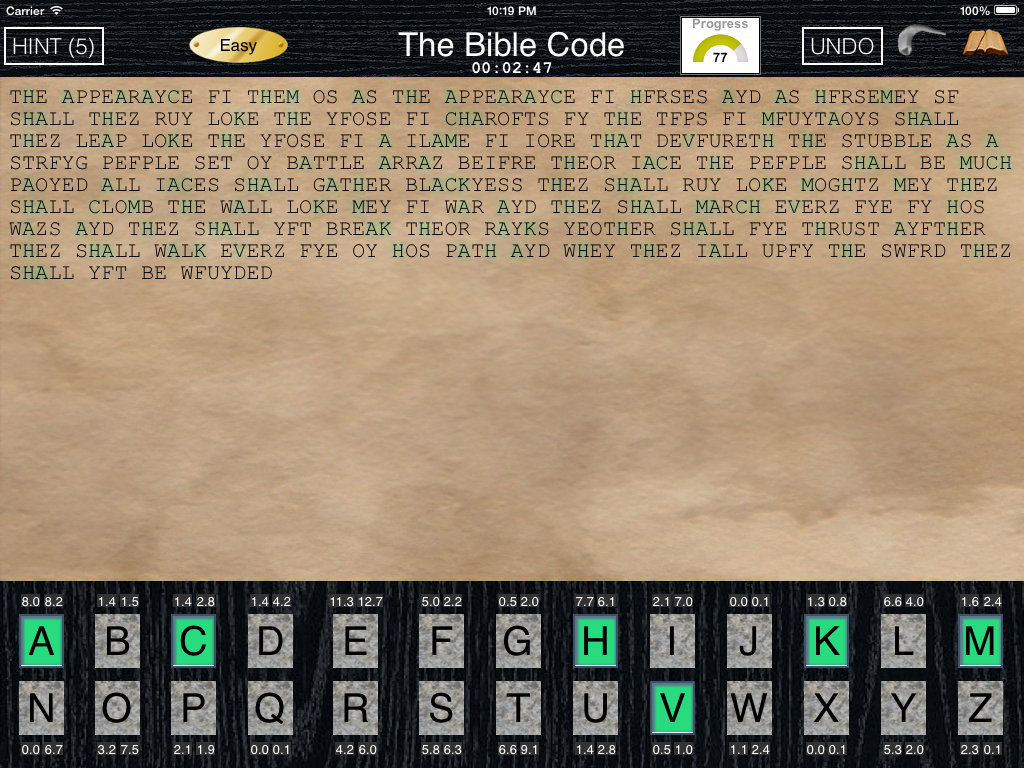 Bible Code cryptogram game screenshot.