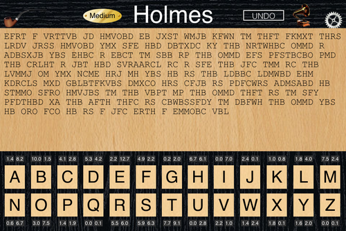 Holmes Cryptic Cipher cryptogram game screenshot.